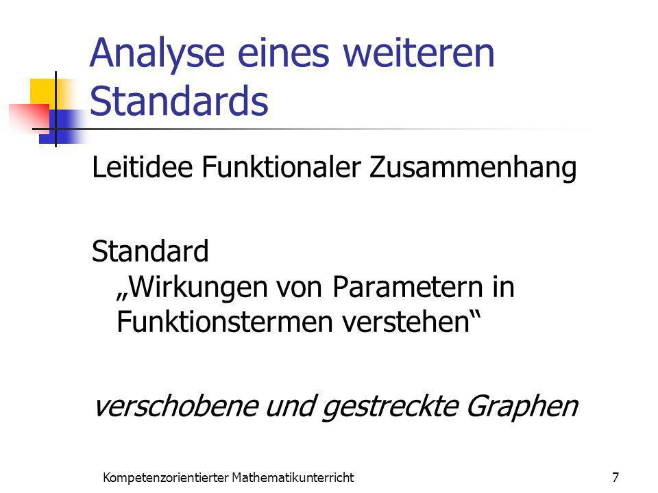 Analyse eines weiteren Standards Leitidee Funktionaler Zusammenhang Standard Wirkungen von Parametern in Funktionstermen verstehen verschobene und ges