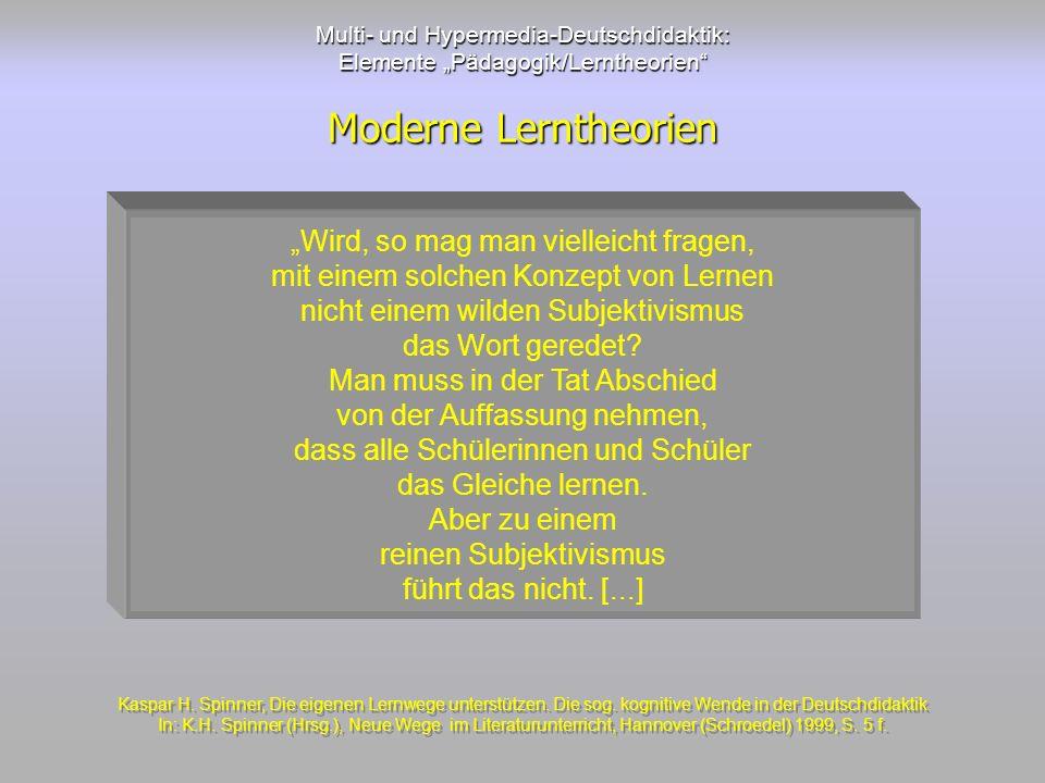 Multi- und Hypermedia-Deutschdidaktik: Elemente Pädagogik/Lerntheorien Moderne Lerntheorien Wird, so mag man vielleicht fragen, mit einem solchen Konz