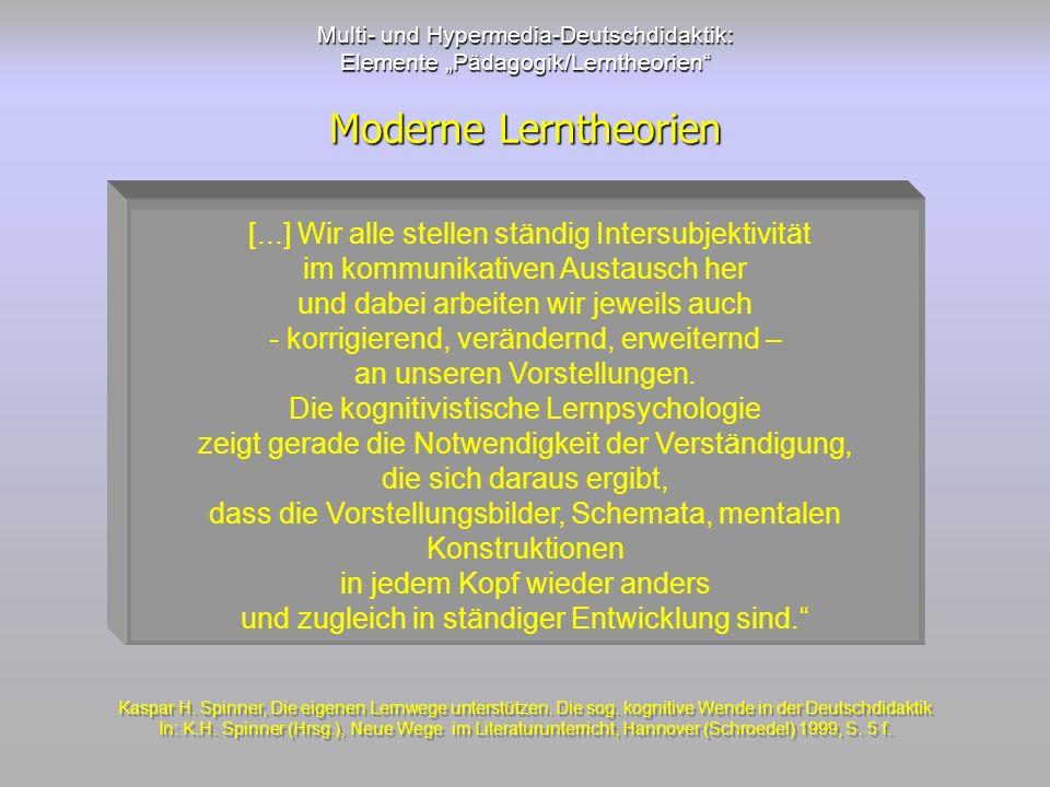 Multi- und Hypermedia-Deutschdidaktik: Elemente Pädagogik/Lerntheorien Moderne Lerntheorien [...] Wir alle stellen ständig Intersubjektivität im kommu