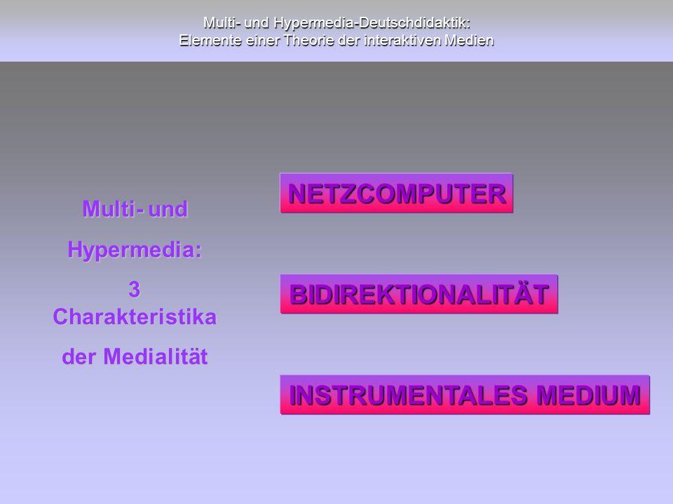 Multi- und Hypermedia-Deutschdidaktik: Elemente einer Theorie der interaktiven Medien Multi- und Hypermedia: 3 Charakteristika der Medialität NETZCOMP