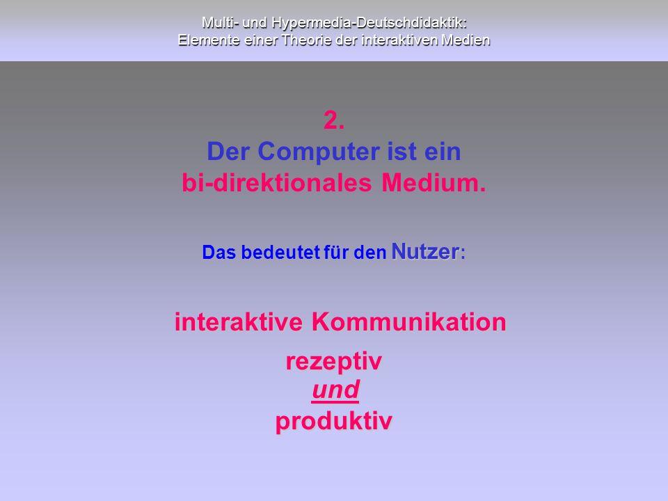 Multi- und Hypermedia-Deutschdidaktik: Elemente einer Theorie der interaktiven Medien interaktive Kommunikation rezeptiv und produktiv Nutzer Das bede