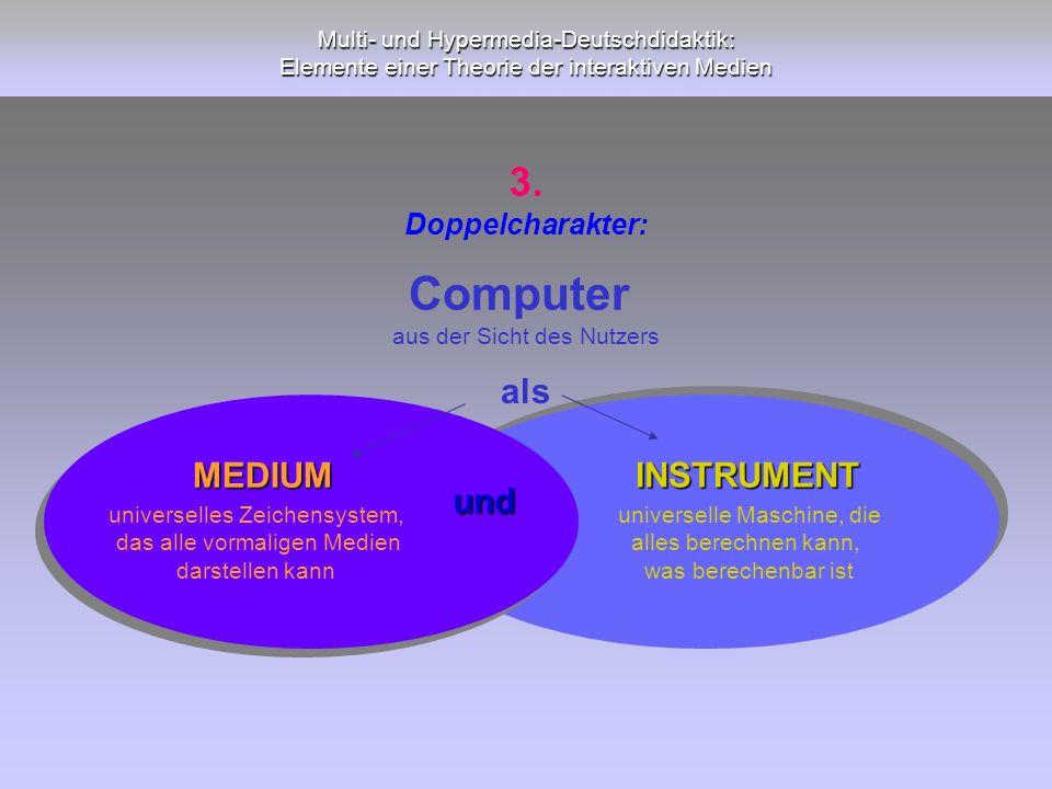 Multi- und Hypermedia-Deutschdidaktik: Elemente einer Theorie der interaktiven Medien und MEDIUM INSTRUMENT universelle Maschine, die alles berechnen
