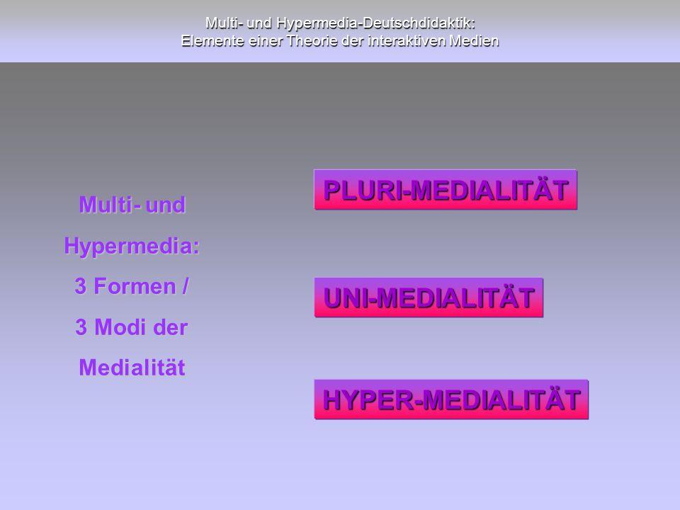 Multi- und Hypermedia-Deutschdidaktik: Elemente einer Theorie der interaktiven Medien Multi- und Hypermedia: 3 Formen / 3 Modi der Medialität PLURI-ME