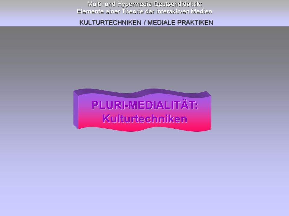 Multi- und Hypermedia-Deutschdidaktik: Elemente einer Theorie der interaktiven Medien KULTURTECHNIKEN / MEDIALE PRAKTIKEN PLURI-MEDIALITÄT:Kulturtechn