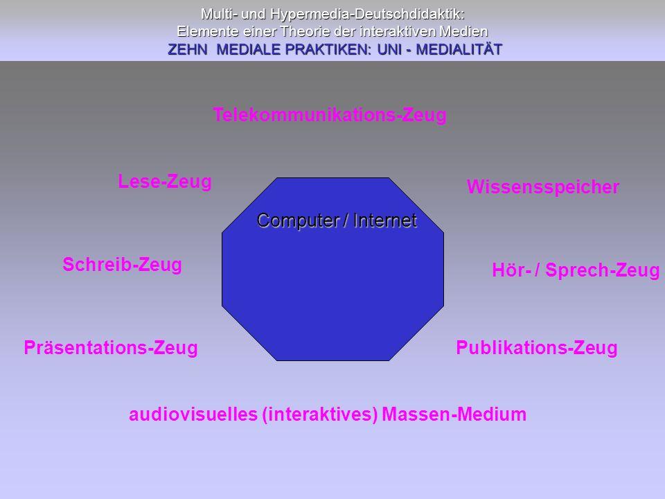 Multi- und Hypermedia-Deutschdidaktik: Elemente einer Theorie der interaktiven Medien ZEHN MEDIALE PRAKTIKEN: UNI - MEDIALITÄT Schreib-Zeug Präsentati