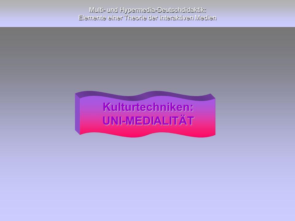Multi- und Hypermedia-Deutschdidaktik: Elemente einer Theorie der interaktiven Medien Kulturtechniken:UNI-MEDIALITÄT