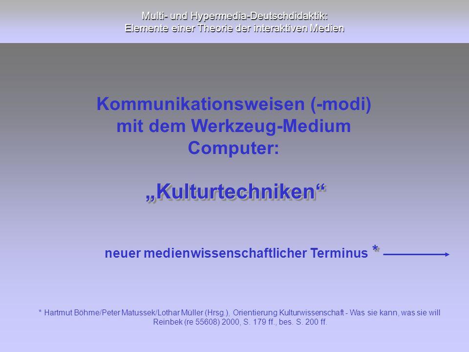 Multi- und Hypermedia-Deutschdidaktik: Elemente einer Theorie der interaktiven Medien KulturtechnikenKulturtechniken Kommunikationsweisen (-modi) mit
