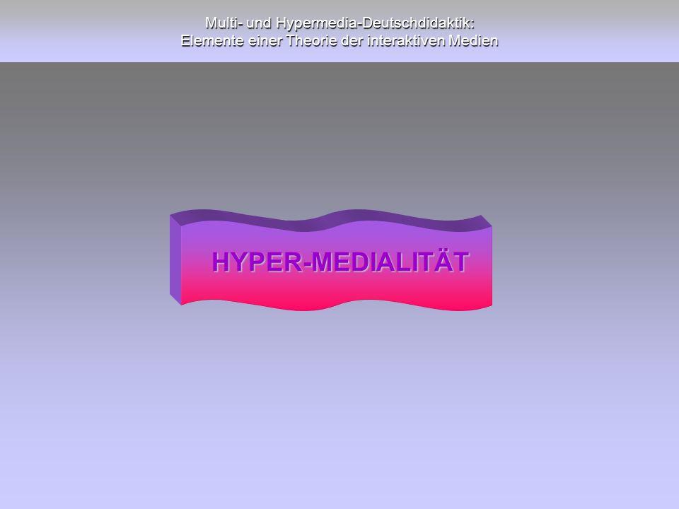Multi- und Hypermedia-Deutschdidaktik: Elemente einer Theorie der interaktiven Medien HYPER-MEDIALITÄT