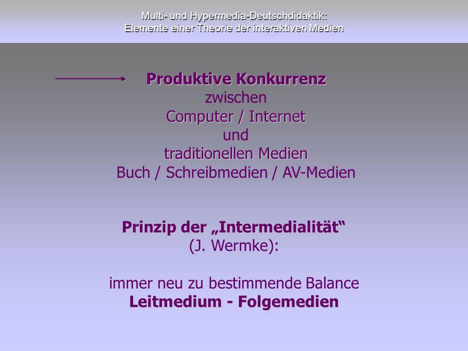 Multi- und Hypermedia-Deutschdidaktik: Elemente einer Theorie der interaktiven Medien Produktive Konkurrenz zwischen Computer / Internet und tradition