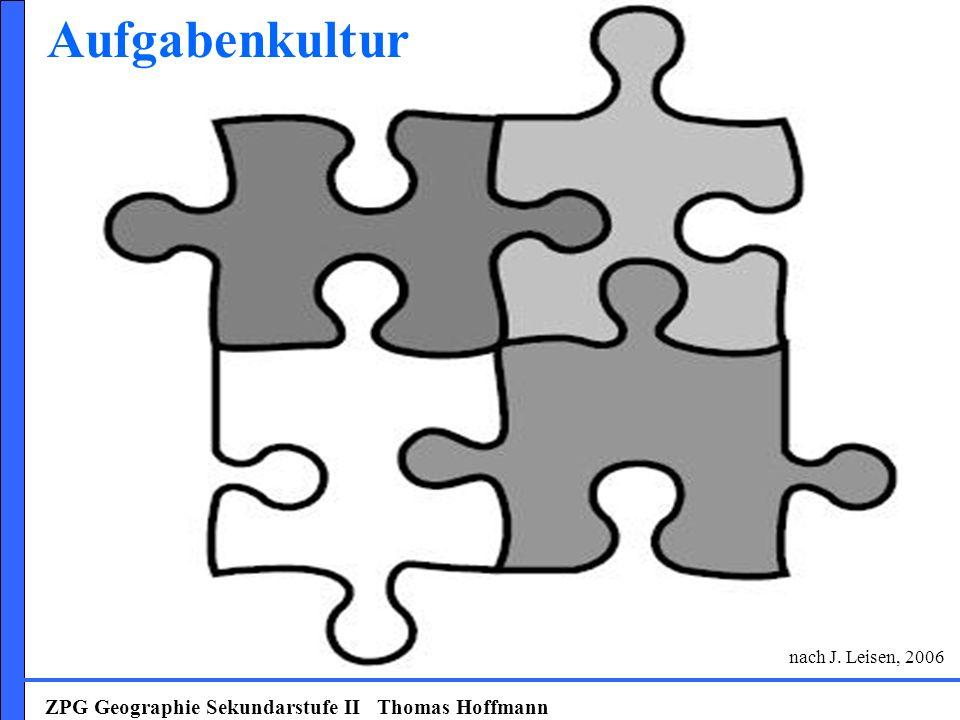 ZPG Geographie Sekundarstufe II Thomas Hoffmann Prozessmerkmale des Lernens: Lernen ist ein aktiver Prozess nur über die aktive Beteiligung der Lernenden möglich Lernen ist ein selbstgesteuerter Prozess Lernende für Steuerung und Kontrolle ihres Lernens selbst verantwortlich Lernen ist ein konstruktiver Prozess baut auf vorhandenen Kenntnissen, Fähigkeiten, Einstellungen auf Lernen ist ein emotionaler Prozess leistungsbezogene und soziale Emotionen haben starken Einfluss Lernen ist ein situativer Prozess erfolgt stets im spezifischen Kontext der Lernsituation Lernen ist ein sozialer Prozess von soziokulturellen Faktoren und interaktiven Geschehen beim Lernen beeinflusst (nach: Reinmann/Mandl 2006, S.