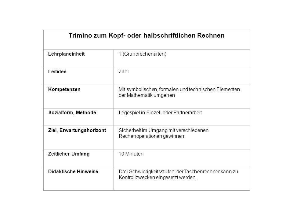 Trimino zum Kopf- oder halbschriftlichen Rechnen Lehrplaneinheit1 (Grundrechenarten) LeitideeZahl KompetenzenMit symbolischen, formalen und technische