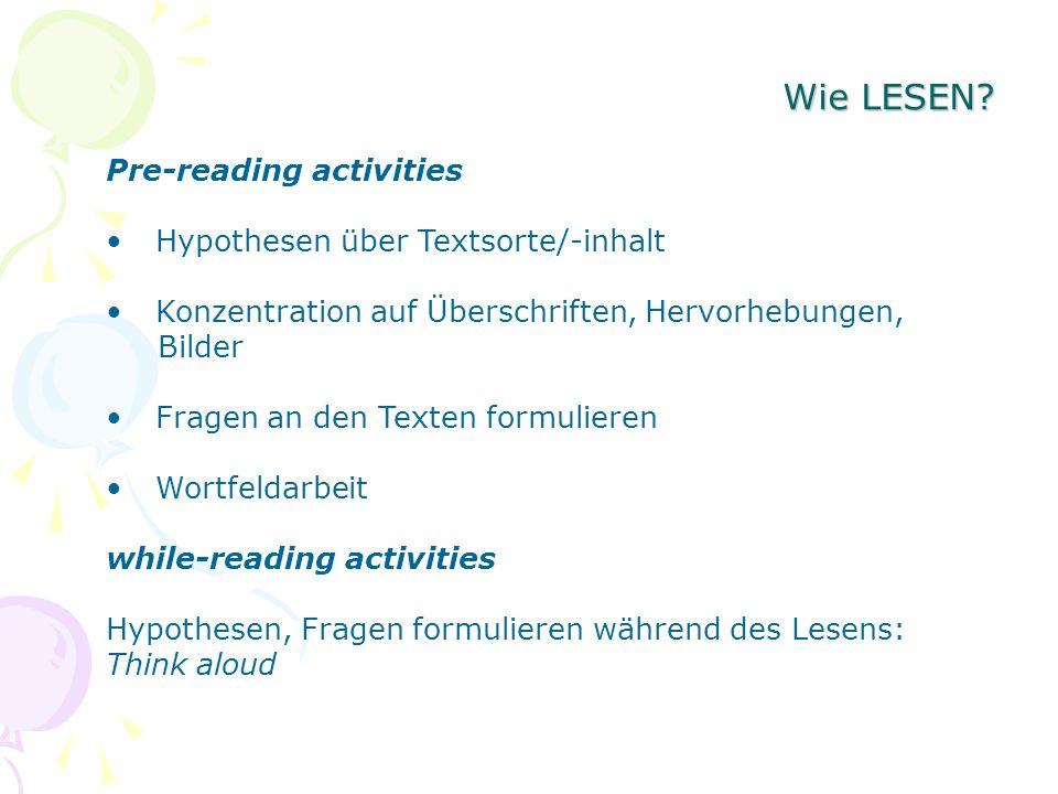 Wie LESEN? Pre-reading activities Hypothesen über Textsorte/-inhalt Konzentration auf Überschriften, Hervorhebungen, Bilder Fragen an den Texten formu