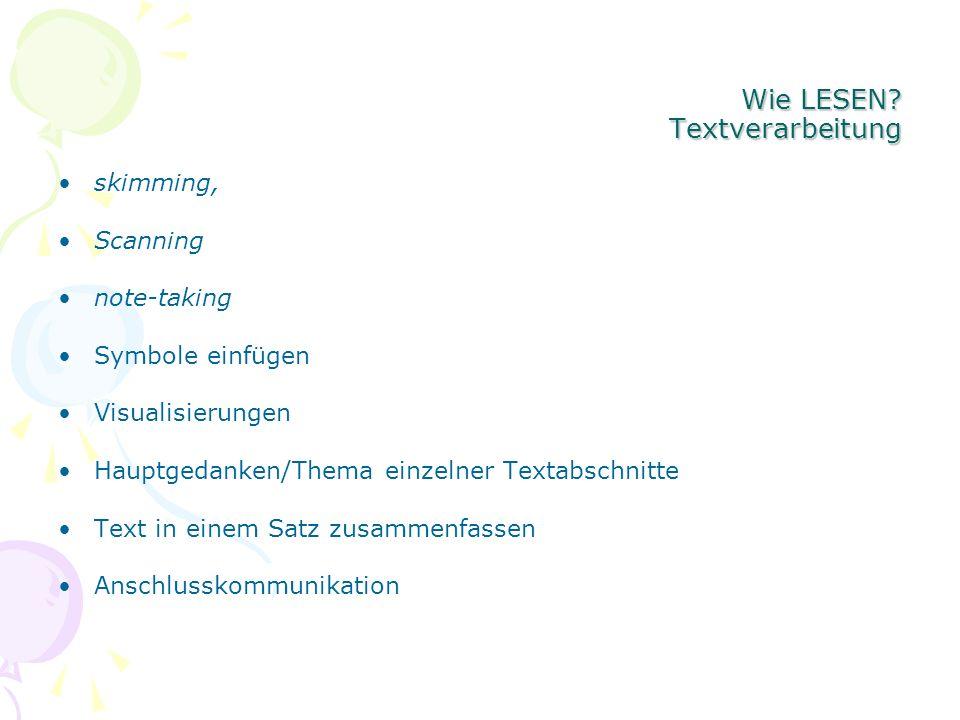 Wie LESEN? Textverarbeitung skimming, Scanning note-taking Symbole einfügen Visualisierungen Hauptgedanken/Thema einzelner Textabschnitte Text in eine