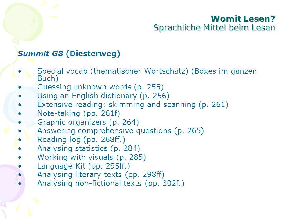 Womit Lesen? Sprachliche Mittel beim Lesen Summit G8 (Diesterweg) Special vocab (thematischer Wortschatz) (Boxes im ganzen Buch) Guessing unknown word