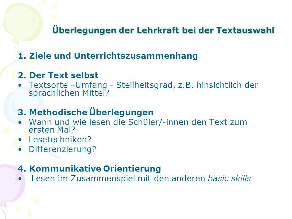 Überlegungen der Lehrkraft bei der Textauswahl 1. Ziele und Unterrichtszusammenhang 2. Der Text selbst Textsorte –Umfang - Steilheitsgrad, z.B. hinsic