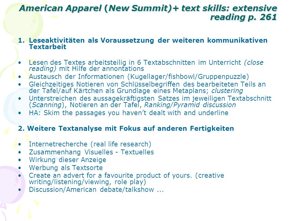 American Apparel (New Summit)+ text skills: extensive reading p. 261 American Apparel (New Summit)+ text skills: extensive reading p. 261 1.Leseaktivi