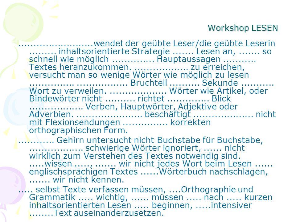 Workshop LESEN.........................wendet der geübte Leser/die geübte Leserin......... inhaltsorientierte Strategie....... Lesen an,....... so sch