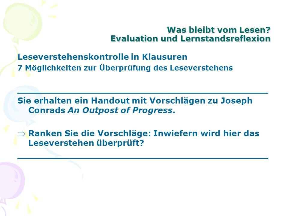 Was bleibt vom Lesen? Evaluation und Lernstandsreflexion Leseverstehenskontrolle in Klausuren 7 Möglichkeiten zur Überprüfung des Leseverstehens _____