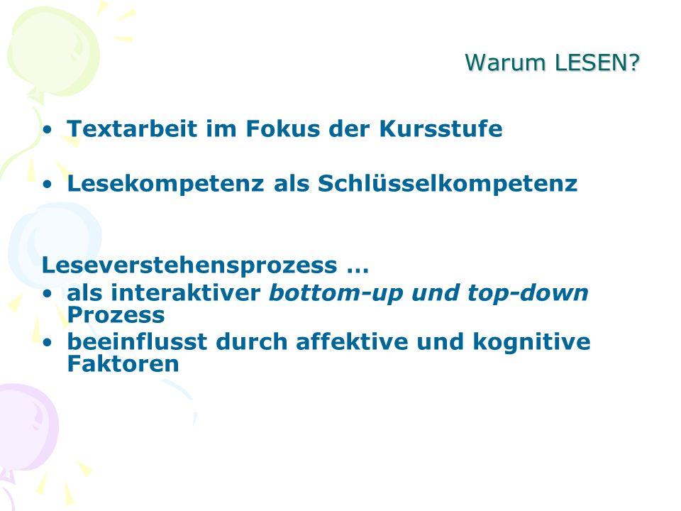 Warum LESEN? Textarbeit im Fokus der Kursstufe Lesekompetenz als Schlüsselkompetenz Leseverstehensprozess … als interaktiver bottom-up und top-down Pr