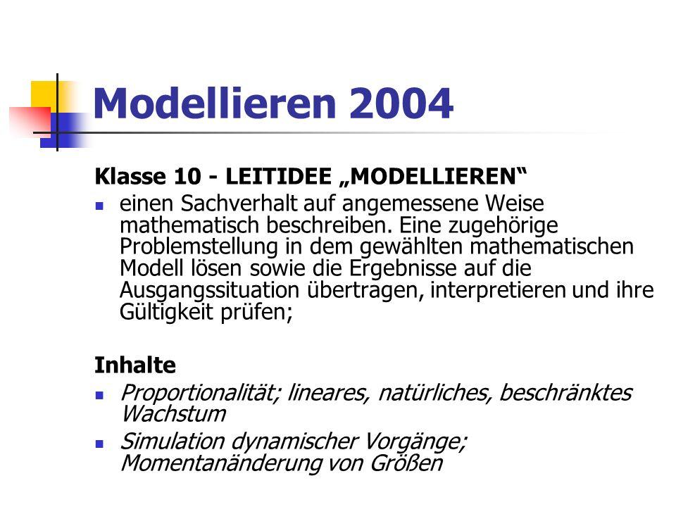 Modellieren 2004 Klasse 10 - LEITIDEE MODELLIEREN einen Sachverhalt auf angemessene Weise mathematisch beschreiben. Eine zugehörige Problemstellung in