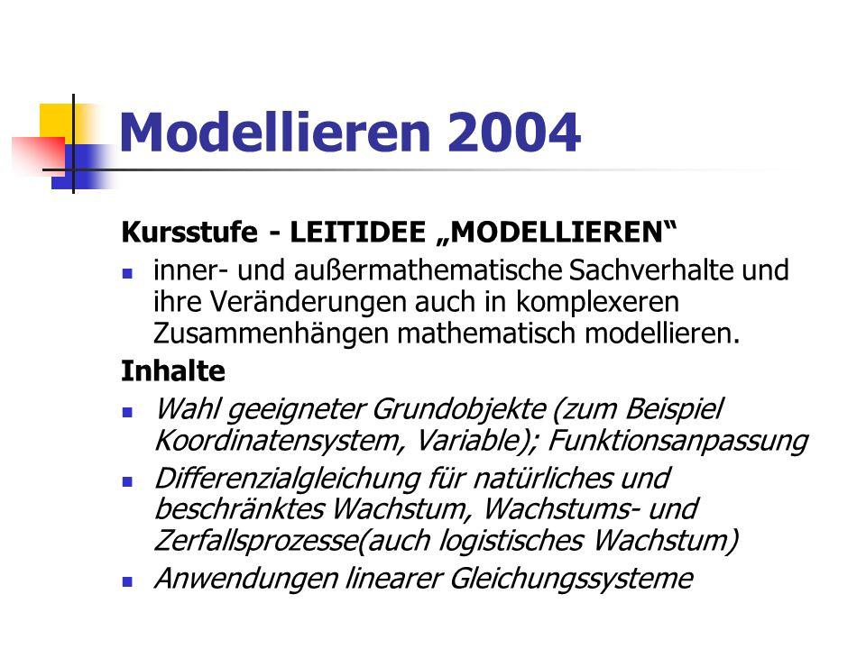 Modellieren 2004 Kursstufe - LEITIDEE MODELLIEREN inner- und außermathematische Sachverhalte und ihre Veränderungen auch in komplexeren Zusammenhängen