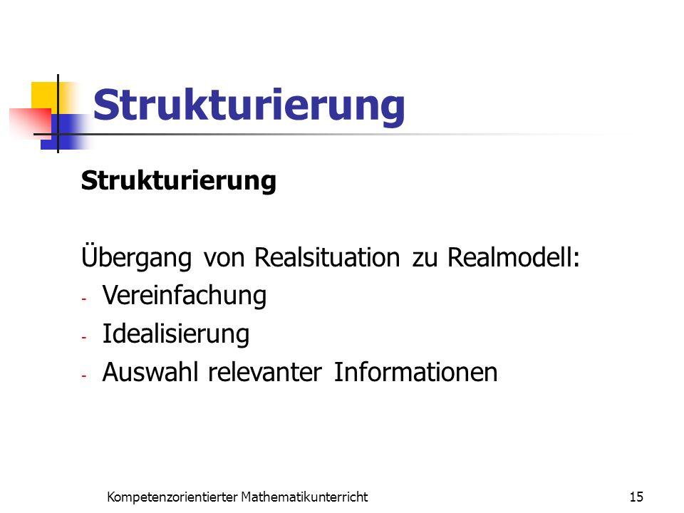 Strukturierung 15Kompetenzorientierter Mathematikunterricht Strukturierung Übergang von Realsituation zu Realmodell: - Vereinfachung - Idealisierung -