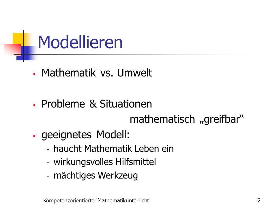 Modellieren 2Kompetenzorientierter Mathematikunterricht Mathematik vs. Umwelt Probleme & Situationen mathematisch greifbar geeignetes Modell: - haucht