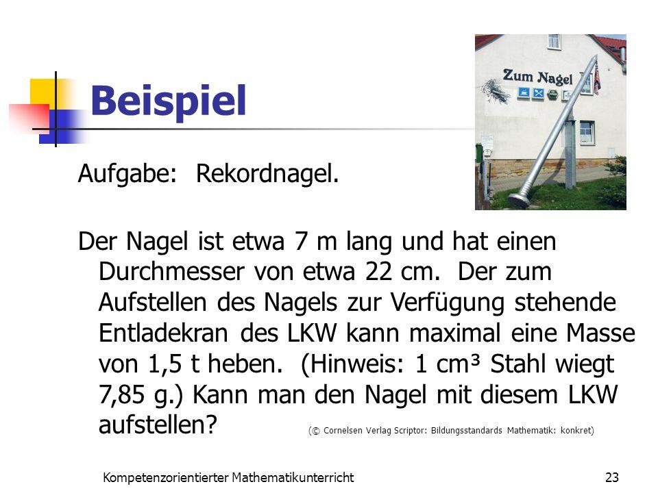 Beispiel 23Kompetenzorientierter Mathematikunterricht Aufgabe: Rekordnagel. Der Nagel ist etwa 7 m lang und hat einen Durchmesser von etwa 22 cm. Der