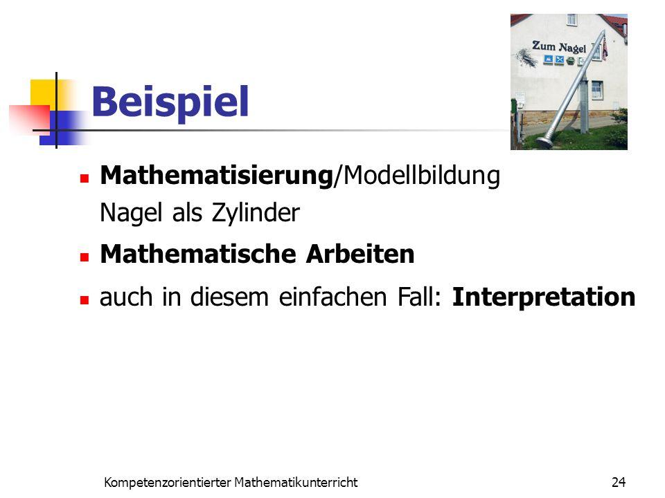 Beispiel 24Kompetenzorientierter Mathematikunterricht Mathematisierung/Modellbildung Nagel als Zylinder Mathematische Arbeiten auch in diesem einfache