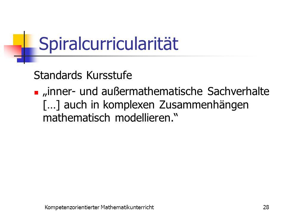 Spiralcurricularität 28Kompetenzorientierter Mathematikunterricht Standards Kursstufe inner- und außermathematische Sachverhalte […] auch in komplexen
