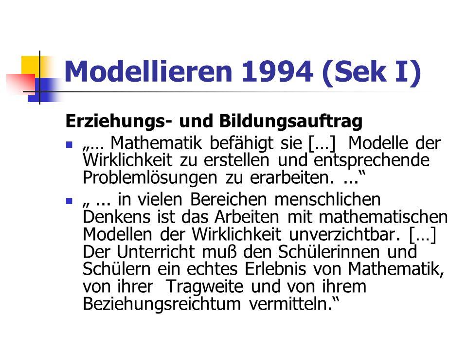 Modellieren 1994 (Sek II) weg von Mathematik als Produkt: Im vorgegebenen Modell arbeiten hin zu Mathematik als Prozess: Realität modellieren LPE 4, Mathematik in der Praxis […]: Insbesondere werden sie sich der einzelnen Schritte des Modellierens bewusst: Problembeschreibung, mathematische Modellierung, Durchführung der Modellrechnung, Interpretation, Modellkritik.