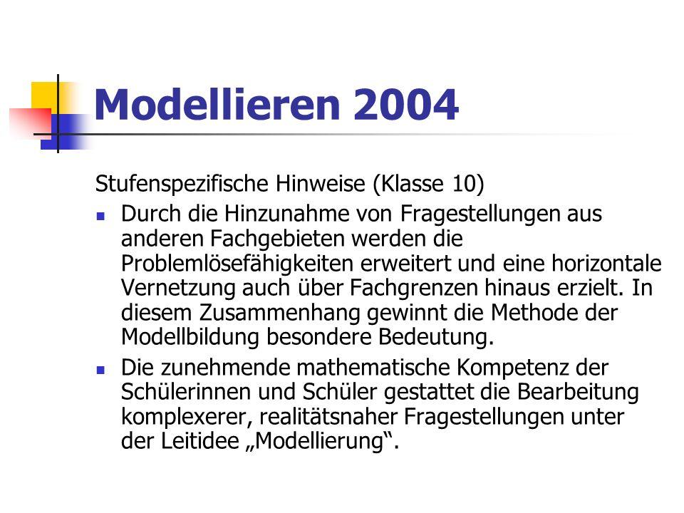 Modellieren 2004 Stufenspezifische Hinweise (Klasse 12) Die Leitidee Modellierung verbindet auch unterschiedliche Teilgebiete der Mathematik und fördert so die Flexibilität des Denkens.