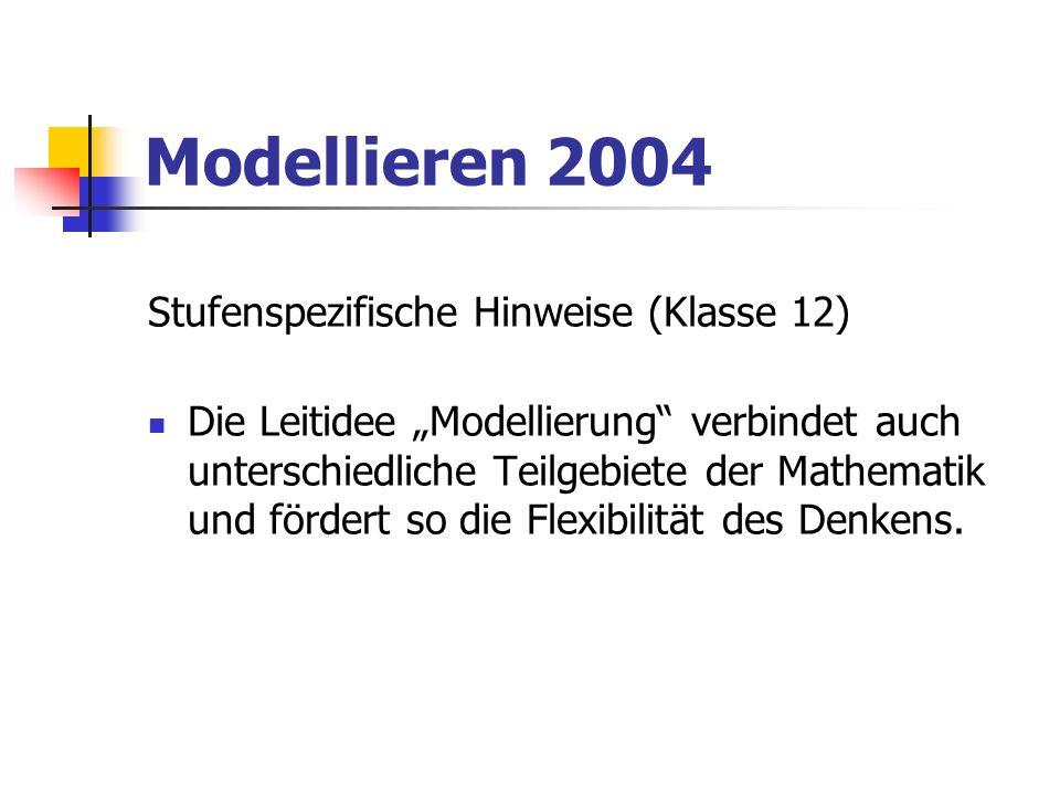 Modellieren 2004 Klasse 6 - LEITIDEE MODELLIEREN mithilfe geometrischer Modelle Situationen darstellen und Probleme lösen; Zahlen und Zahlverknüpfungen zur adäquaten Beschreibung und Untersuchung von Aufgaben in Mathematik und Umwelt einsetzen; den Dreisatz bei Aufgaben des bürgerlichen Rechnens anwenden; Ergebnisse sinnvoll runden; durch Schätzen auf Brauchbarkeit überprüfen.