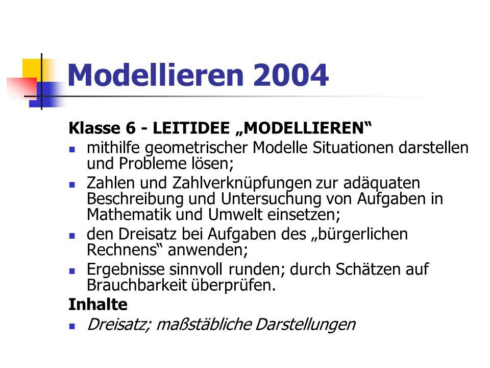 Modellieren 2004 Klasse 8 - LEITIDEE MODELLIEREN inner- und außermathematische Sachverhalte mithilfe von Tabellen, Termen oder Graphen beschreiben und umgekehrt Tabellen, Terme und Graphen in Bezug auf einen Sachverhalt interpretieren; mit Prozentangaben in vielfältigen und auch komplexen Situationen sicher umgehen; ein Zufallsexperiment durch eine Wahrscheinlichkeitsverteilung beschreiben.