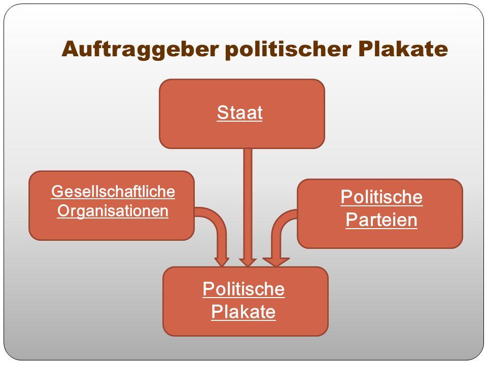 Auftraggeber politischer Plakate Gesellschaftliche Organisationen Staat Politische Parteien Politische Plakate