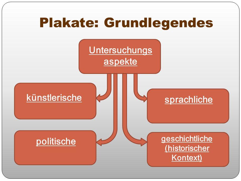 Plakate: Grundlegendes sprachliche politische Untersuchungs aspekte künstlerische geschichtliche (historischer Kontext)
