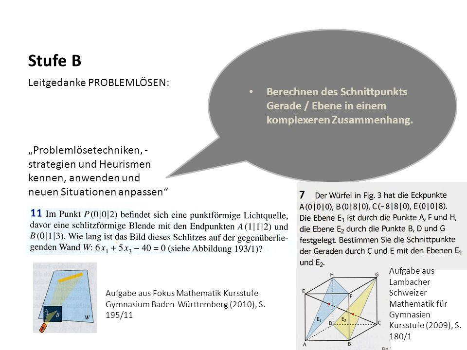 Stufe B Leitgedanke PROBLEMLÖSEN: Problemlösetechniken, - strategien und Heurismen kennen, anwenden und neuen Situationen anpassen Berechnen des Schni