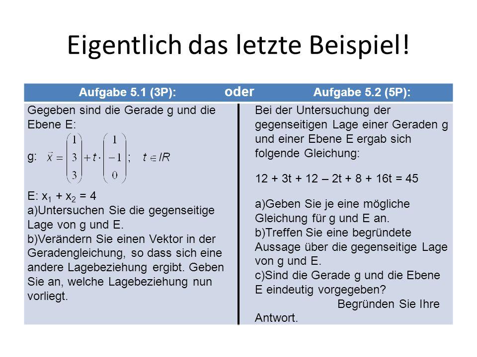 Eigentlich das letzte Beispiel! Aufgabe 5.1 (3P): oder Aufgabe 5.2 (5P): Gegeben sind die Gerade g und die Ebene E: g: E: x 1 + x 2 = 4 a)Untersuchen