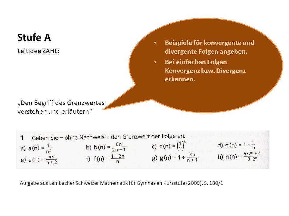 Stufe B Leitidee ZAHL: Den Begriff des Grenzwertes verstehen und erläutern Grenzwertsätze zum Nachweis und Bestimmen (auch) komplexerer Grenzwerte anwenden.