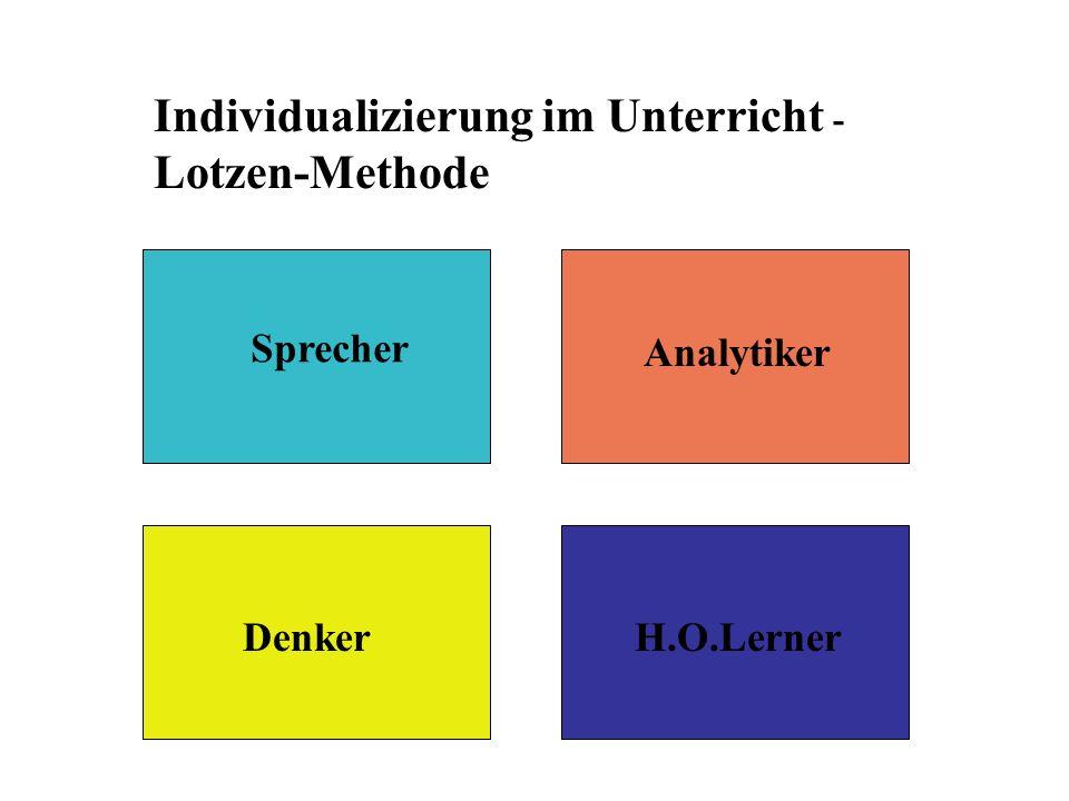 Individualizierung im Unterricht - Lotzen-Methode Sprecher Analytiker DenkerH.O.Lerner
