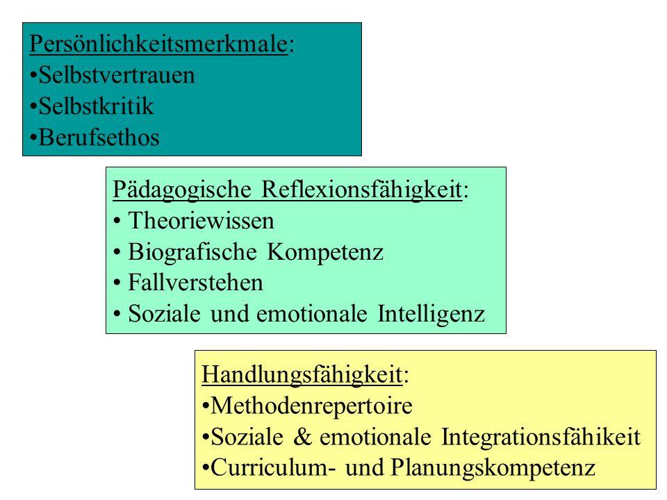 Persönlichkeitsmerkmale: Selbstvertrauen Selbstkritik Berufsethos Pädagogische Reflexionsfähigkeit: Theoriewissen Biografische Kompetenz Fallverstehen