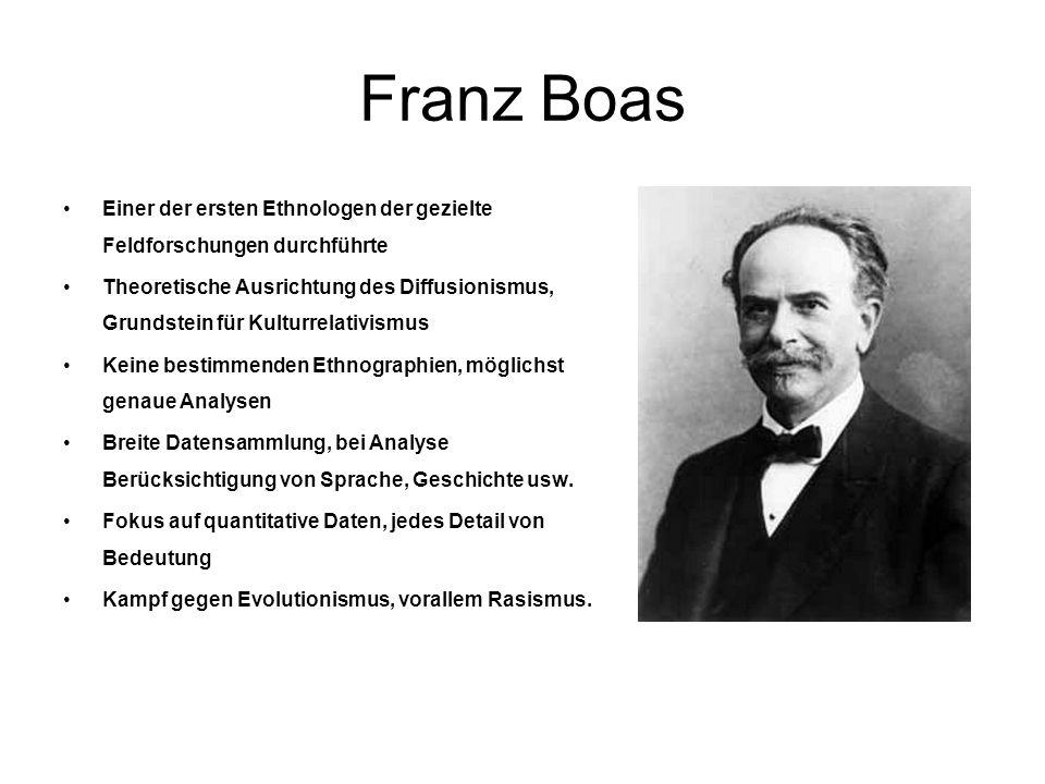 Franz Boas Einer der ersten Ethnologen der gezielte Feldforschungen durchführte Theoretische Ausrichtung des Diffusionismus, Grundstein für Kulturrela