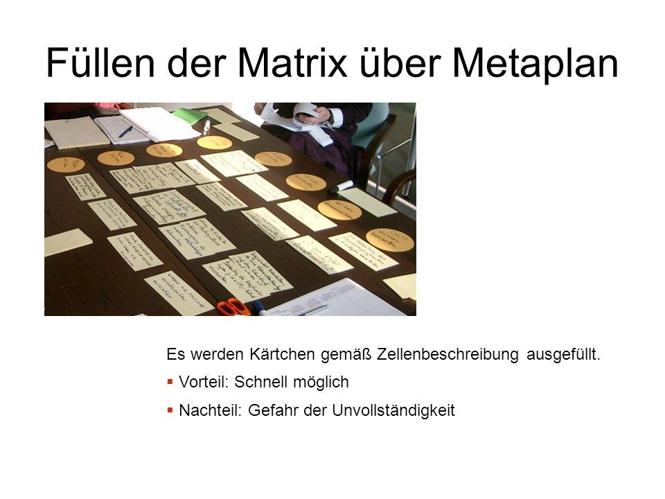 Füllen der Matrix über Metaplan Es werden Kärtchen gemäß Zellenbeschreibung ausgefüllt.