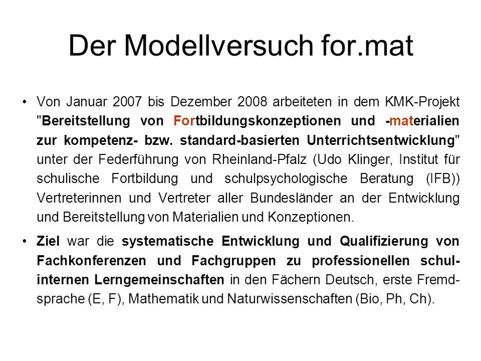 Der Modellversuch for.mat Von Januar 2007 bis Dezember 2008 arbeiteten in dem KMK-Projekt Bereitstellung von Fortbildungskonzeptionen und -materialien zur kompetenz- bzw.