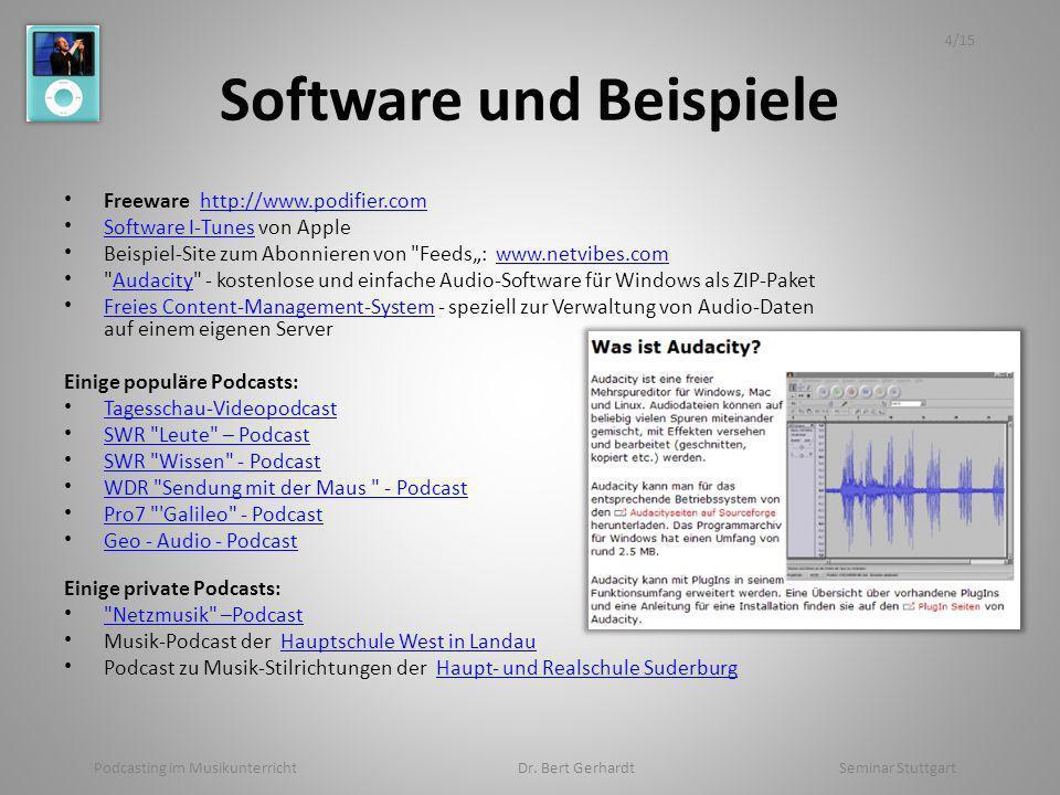 Software und Beispiele Freeware http://www.podifier.comhttp://www.podifier.com Software I-Tunes von Apple Software I-Tunes Beispiel-Site zum Abonnieren von Feeds: www.netvibes.comwww.netvibes.com Audacity - kostenlose und einfache Audio-Software für Windows als ZIP-PaketAudacity Freies Content-Management-System - speziell zur Verwaltung von Audio-Daten auf einem eigenen Server Freies Content-Management-System Einige populäre Podcasts: Tagesschau-Videopodcast SWR Leute – Podcast SWR Wissen - Podcast WDR Sendung mit der Maus - Podcast Pro7 Galileo - Podcast Geo - Audio - Podcast Einige private Podcasts: Netzmusik –Podcast Musik-Podcast der Hauptschule West in LandauHauptschule West in Landau Podcast zu Musik-Stilrichtungen der Haupt- und Realschule SuderburgHaupt- und Realschule Suderburg Podcasting im Musikunterricht Dr.