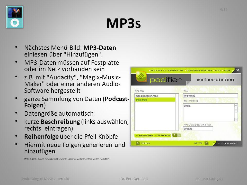 MP3s Nächstes Menü-Bild: MP3-Daten einlesen über Hinzufügen .
