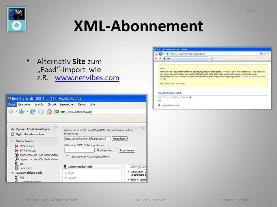 XML-Abonnement Alternativ Site zum Feed-Import wie z.B. www.netvibes.comwww.netvibes.com Podcasting im Musikunterricht Dr. Bert Gerhardt Seminar Stutt