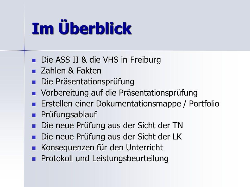 Im Überblick Die ASS II & die VHS in Freiburg Die ASS II & die VHS in Freiburg Zahlen & Fakten Zahlen & Fakten Die Präsentationsprüfung Die Präsentati