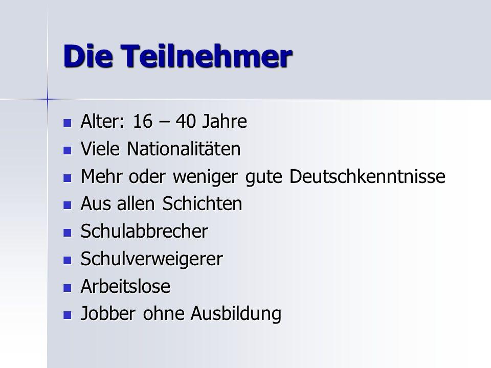 Die Teilnehmer Alter: 16 – 40 Jahre Alter: 16 – 40 Jahre Viele Nationalitäten Viele Nationalitäten Mehr oder weniger gute Deutschkenntnisse Mehr oder