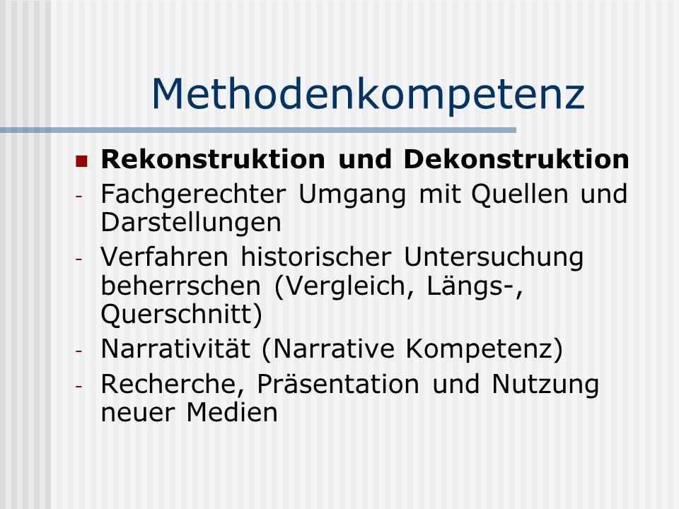 Methodenkompetenz Rekonstruktion und Dekonstruktion - Fachgerechter Umgang mit Quellen und Darstellungen - Verfahren historischer Untersuchung beherrs